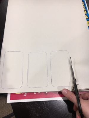 cutting out white bricks on white paper