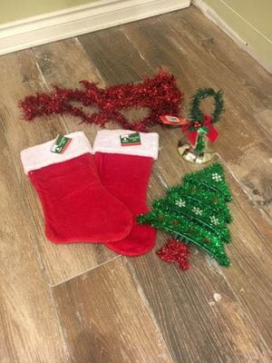 decorations - stockings, tinsel, tinsel tree