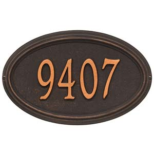 oil rubbed bronze oval house number sign with the numerals 9 4 0 7