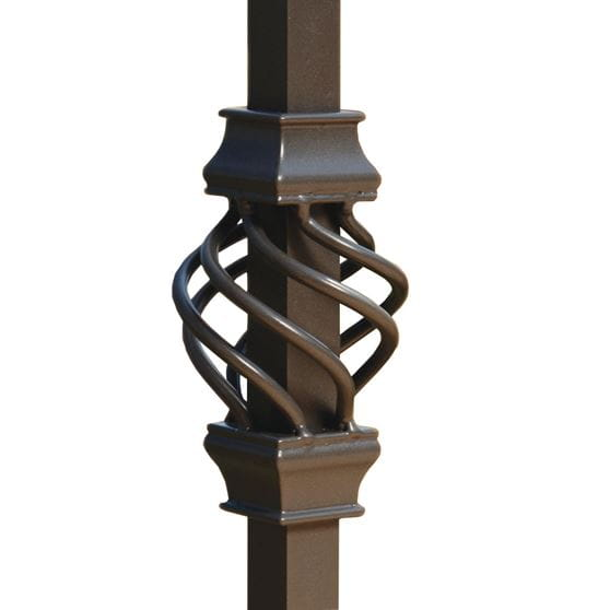 bronze aluminum basket for square balusters on white background