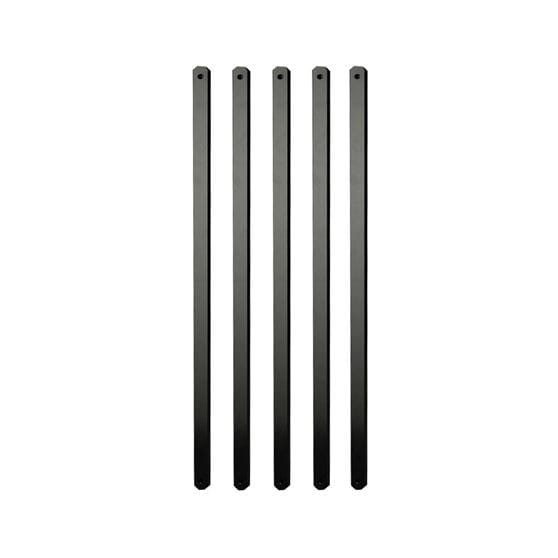 5 flat black metal balusters