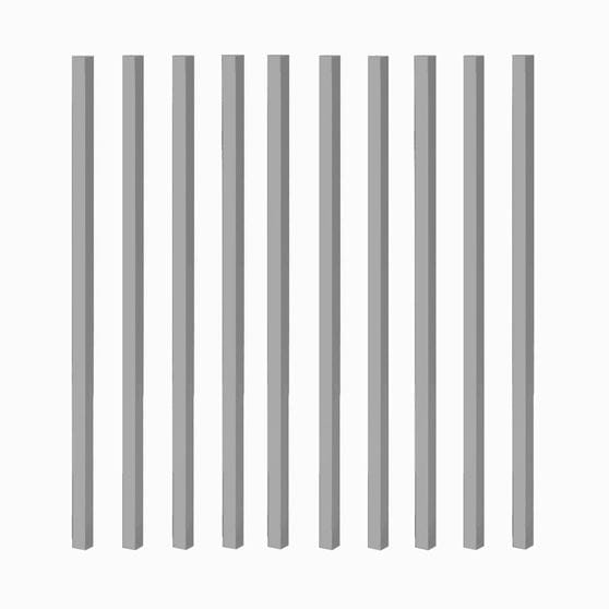 gray aluminum balusters 10 pack on white background