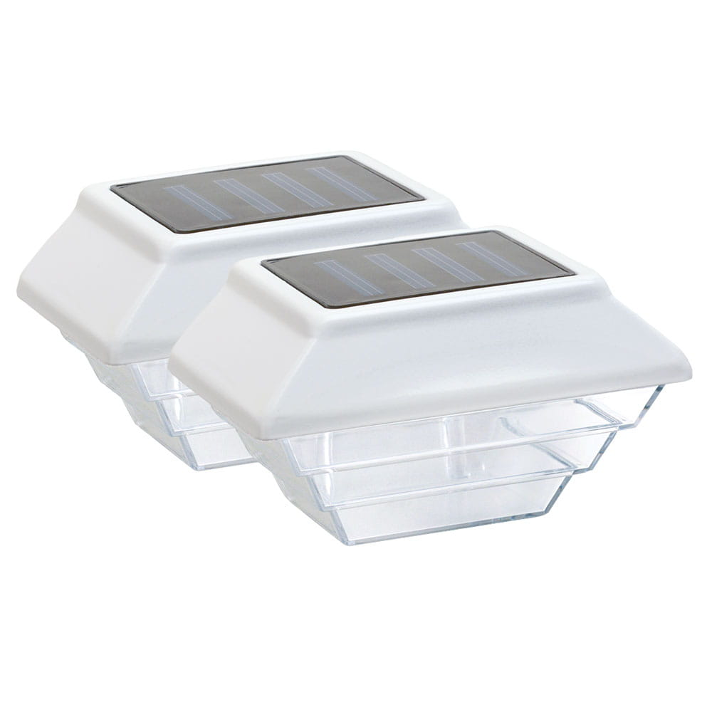 white solar accent light two pack on white background