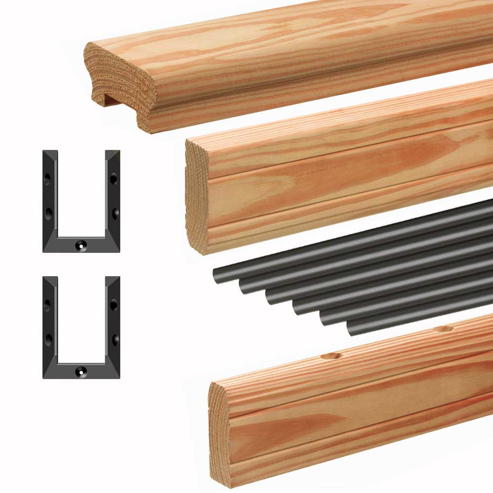 wood deck railing with black balusters kit components