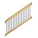 pressure-treated wood outdoor stair railing with black balusters