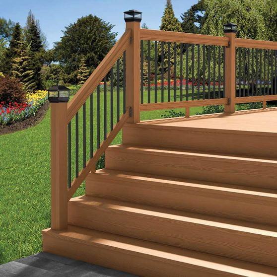 Pressure-Treated Cedar-Tone Outdoor Stair Railing Kit ...