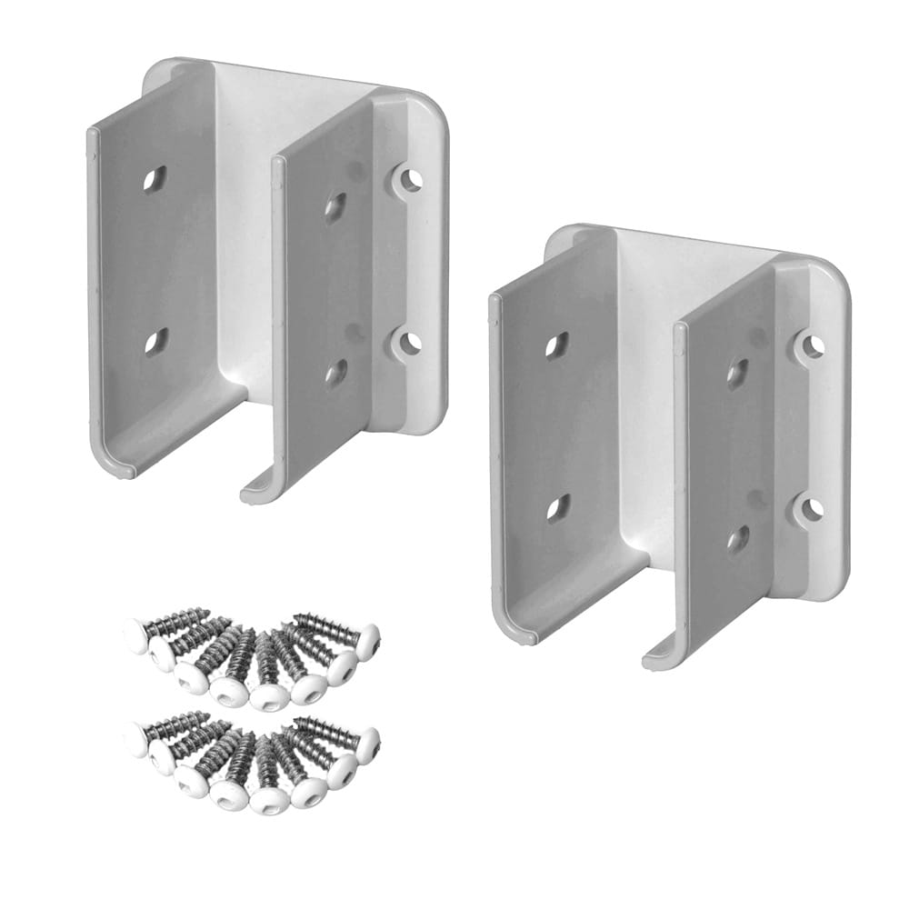 2 Outdoor Essentials white vinyl fence brackets with screws