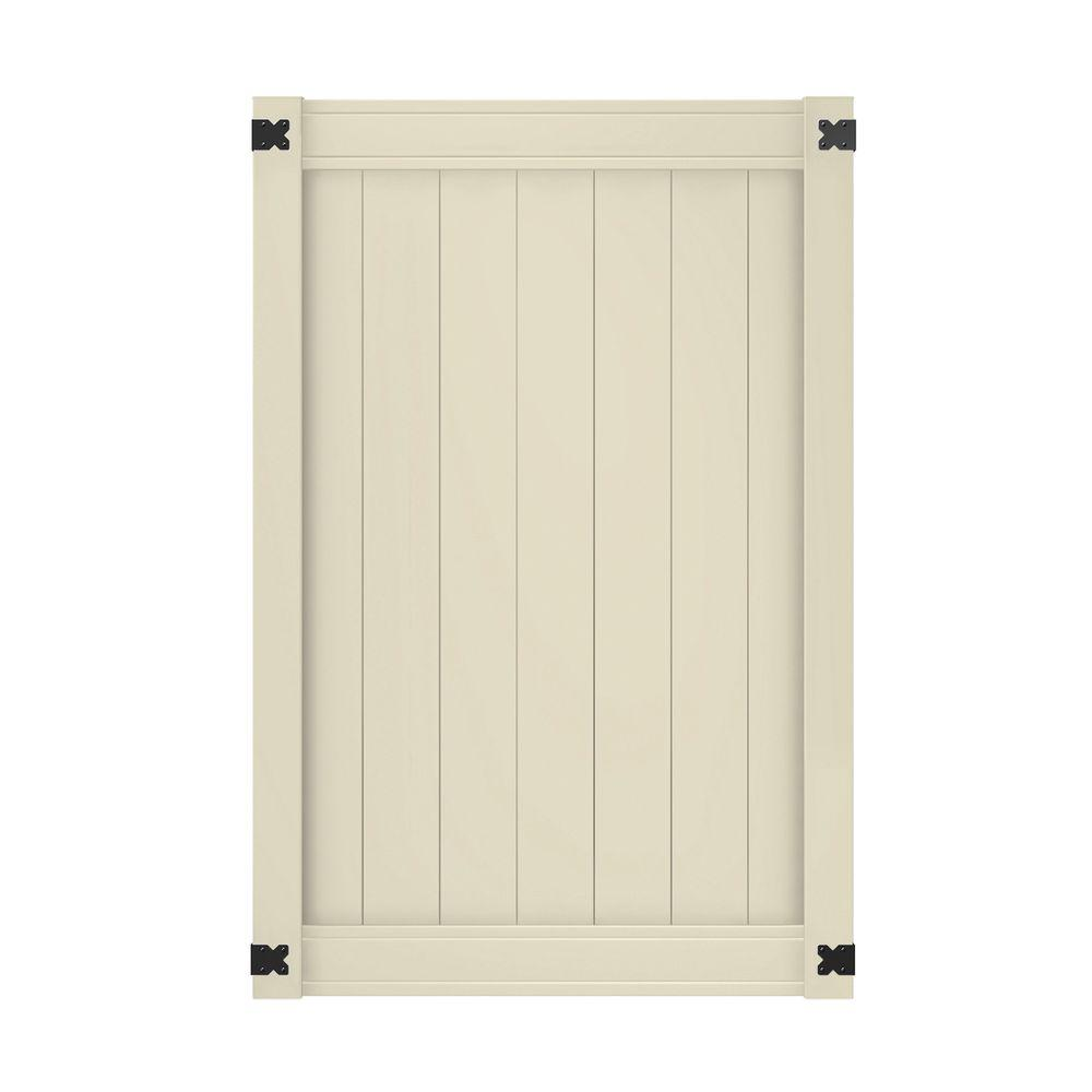 Outdoor Essentials tan lakewood vinyl gate