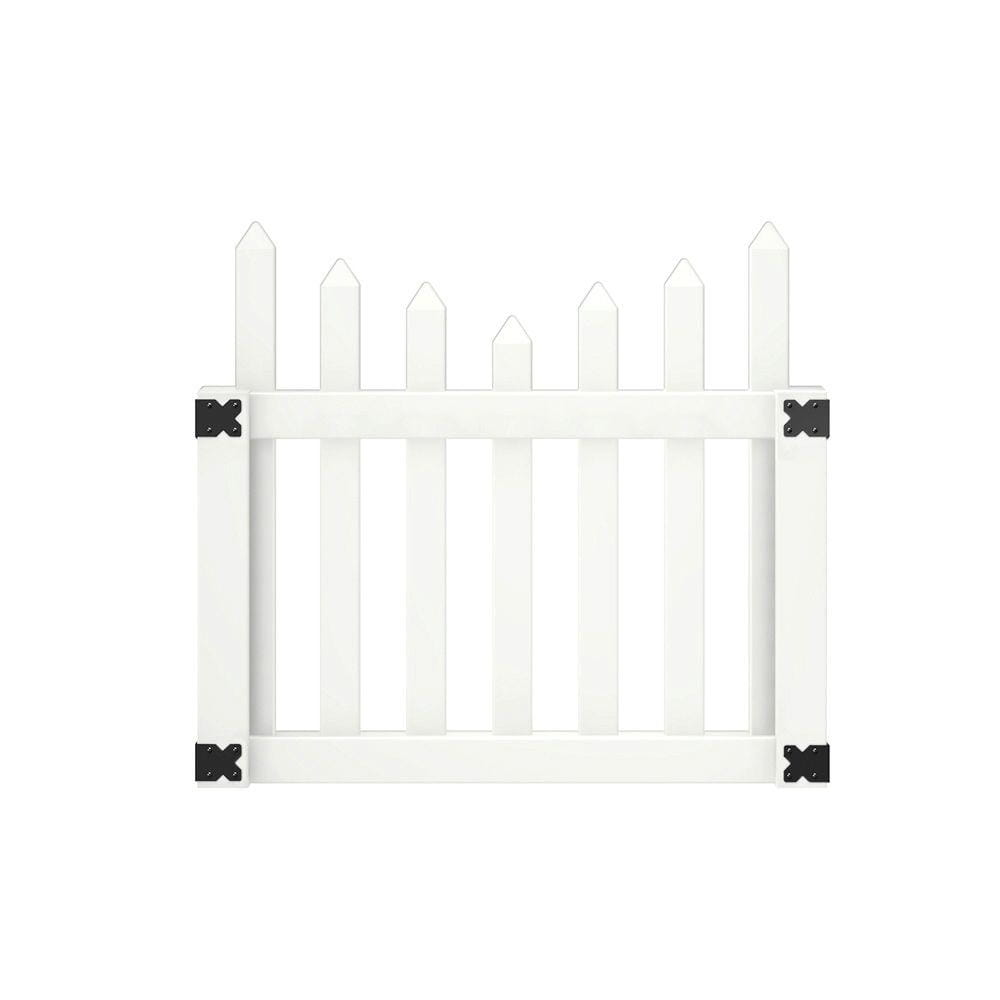 white abington scalloped fence gate