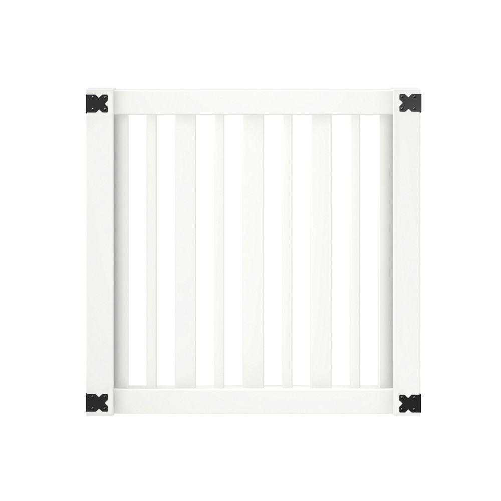 Outdoor Essentials white evanston vinyl gate