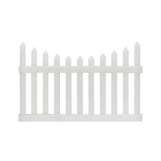 abington white scalloped picket fence panel