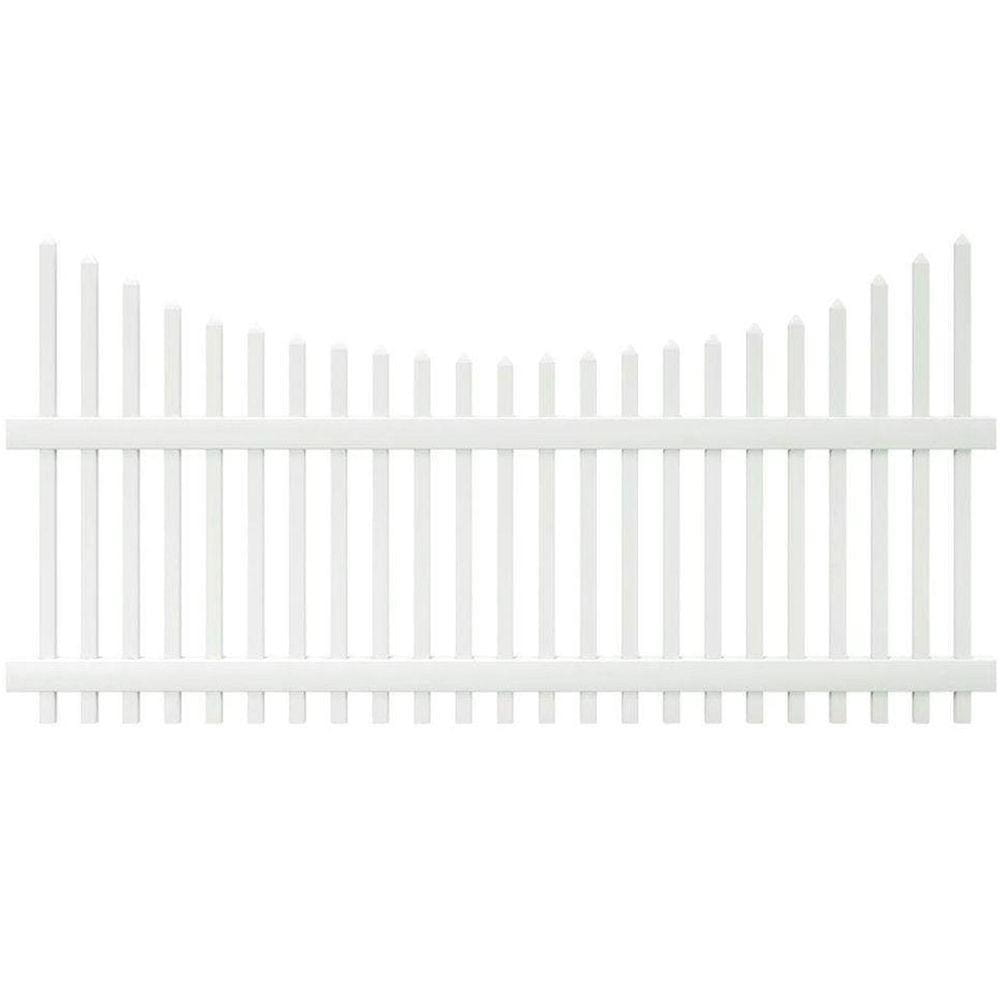 white scalloped picket fence panel