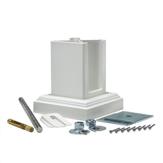 Outdoor Essentials white vinyl 4-inch concrete post mount kit components