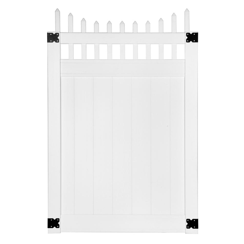 white vinyl lakewood privacy gate with scalloped top