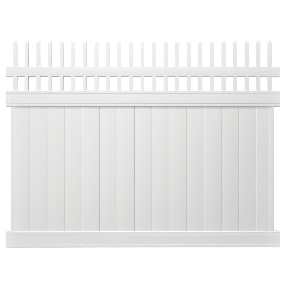 white lakewood open top fence panel