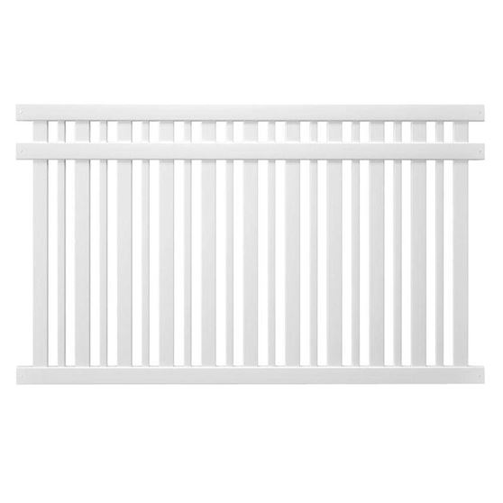 white evanstone spaced picket fence panel