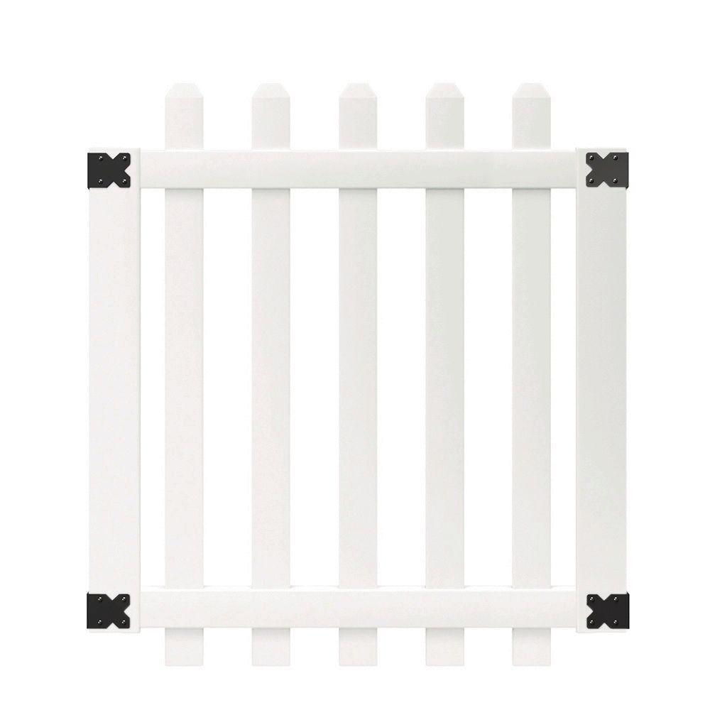 white yorktown dog eared picket fence gate
