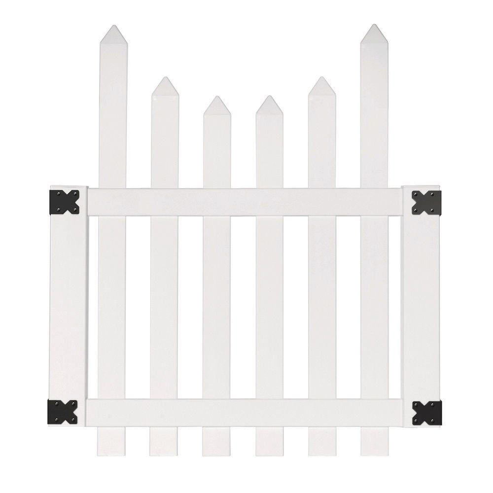 Outdoor Essentials white yorktown scallop spade picket gate