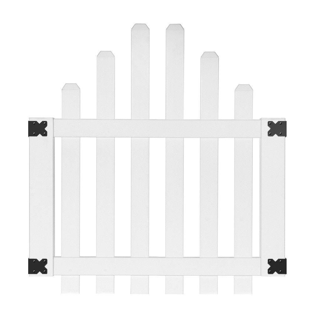 white yorktown arched picket fence gate