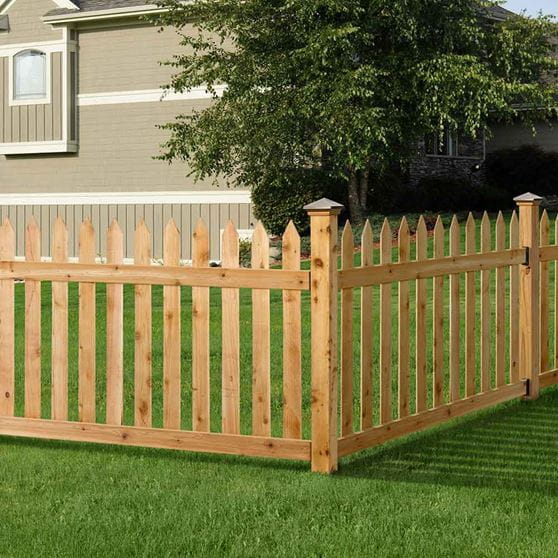 Rough Sawn Cedar Picket Fence Panel Kit 3 5 X 6 Ft