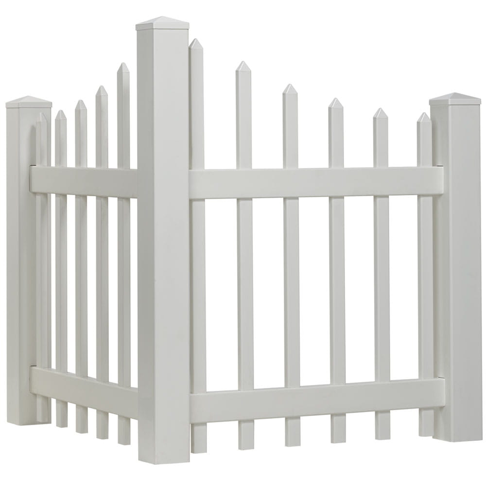 White vinyl scalloped spaced picket corner accent fence with slim spade shaped pointed pickets