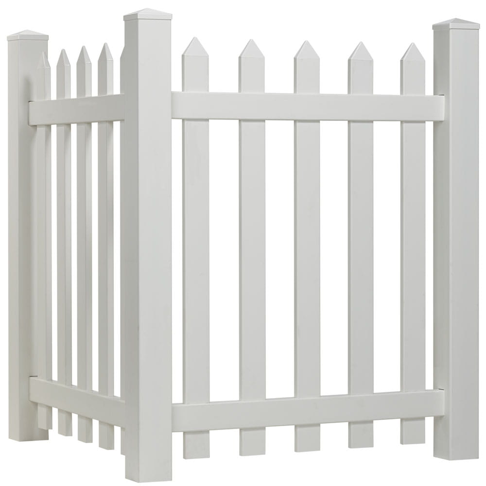 White vinyl spaced picket corner accent fence with spade-shaped pointed pickets