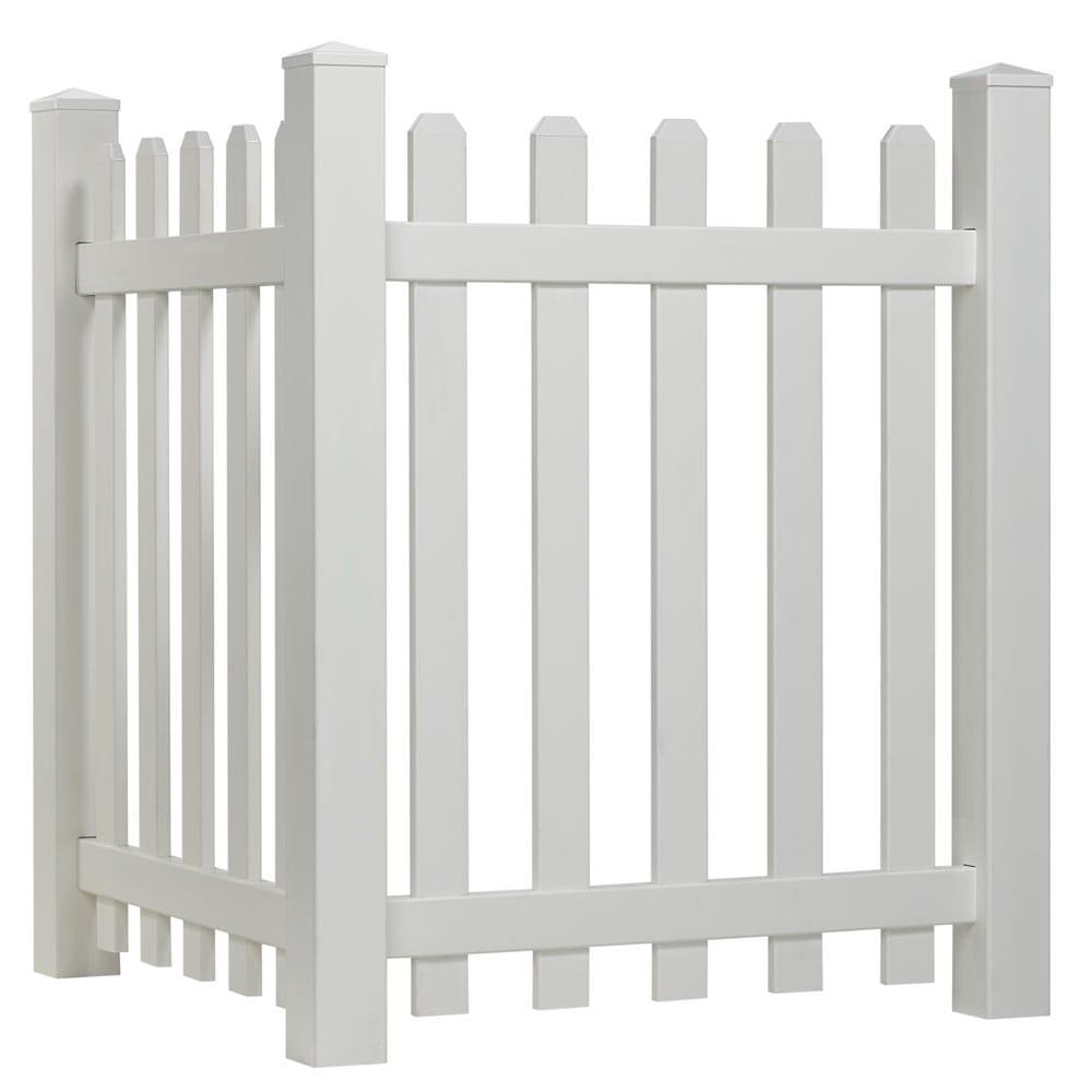 Outdoor Essentials White Vinyl Privacy Corner Accent Fence