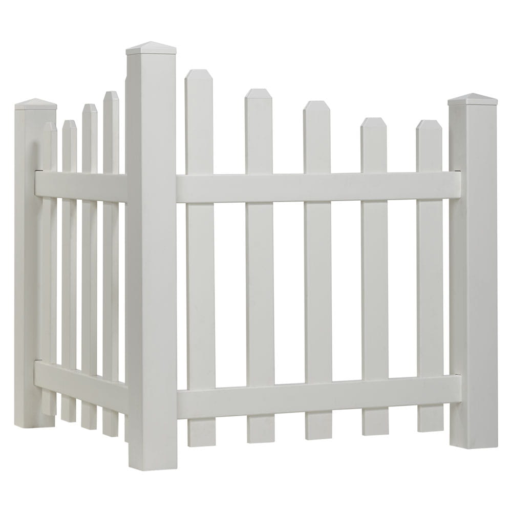 Outdoor Essentials White vinyl scalloped picket corner accent fence
