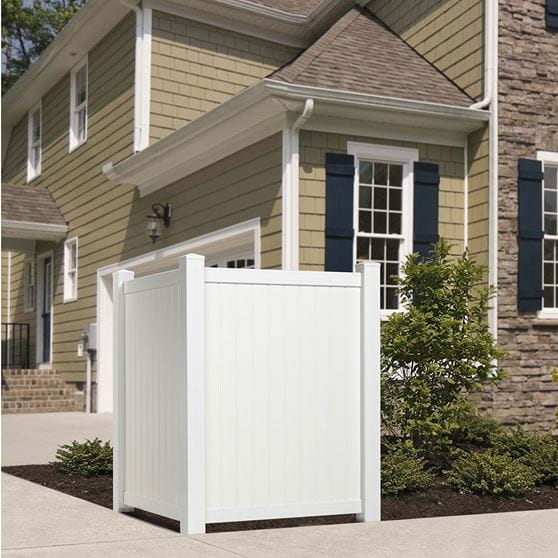 Outdoor Essentials White Vinyl Privacy Corner Accent Fence Installed In Front Of House