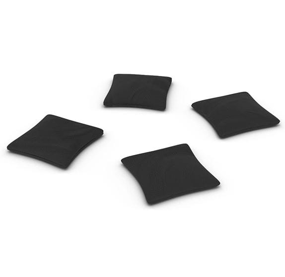 4 black cornhole bags on white background