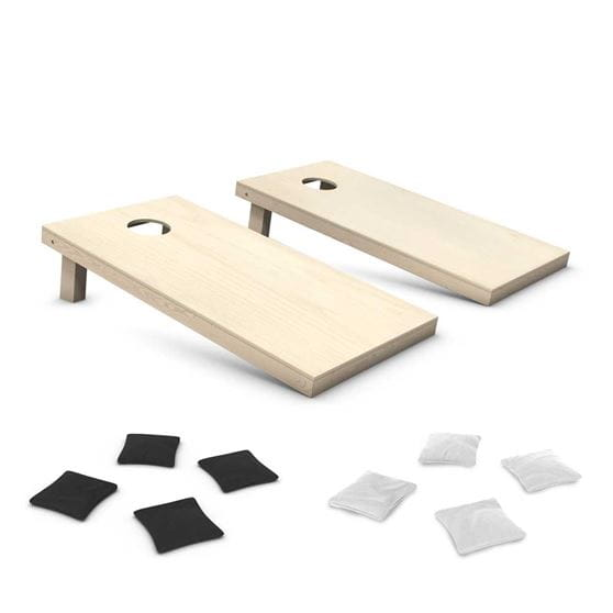 cornhole set with black & white bean bags