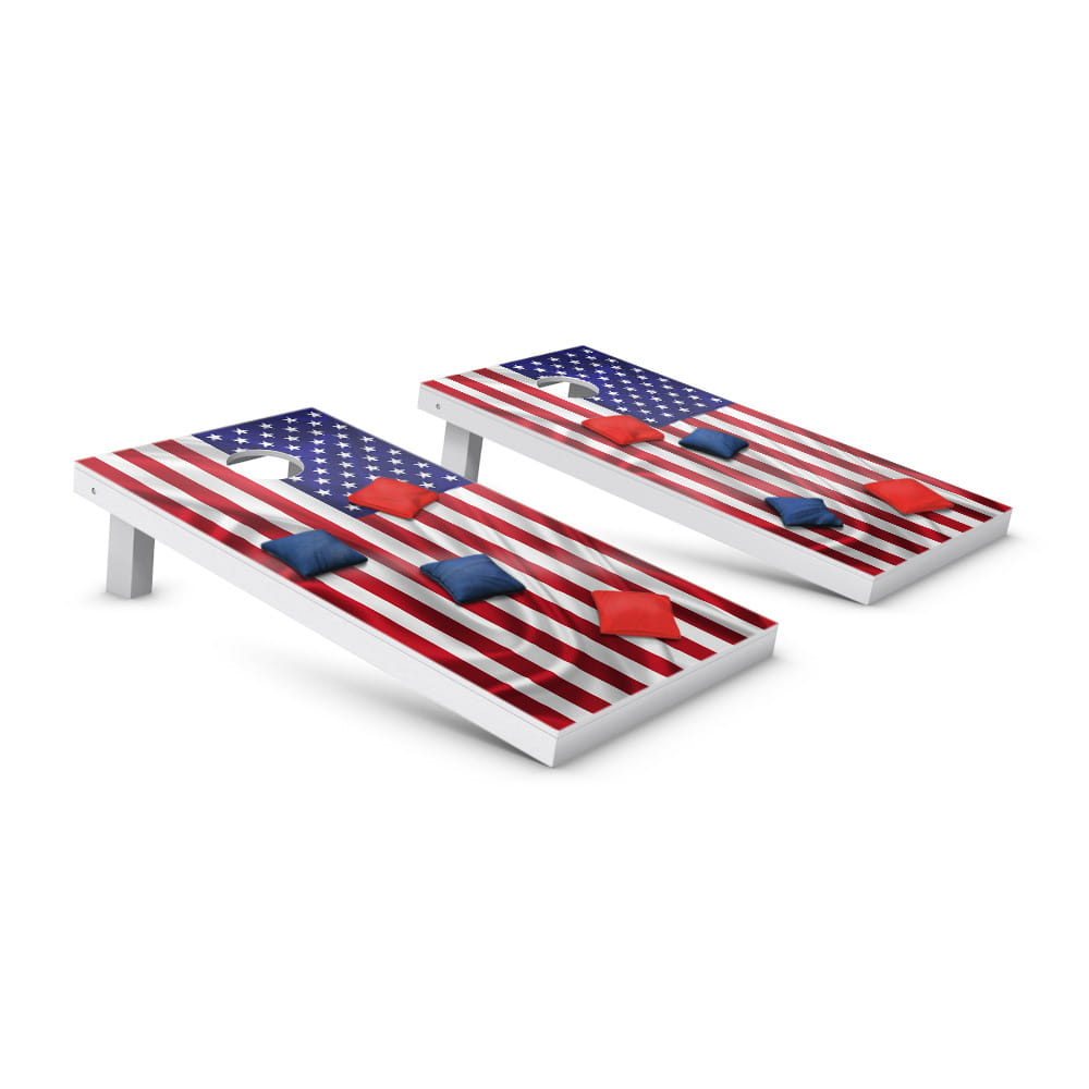 2 cornhole game boards with US flag decal, red & blue bean bags
