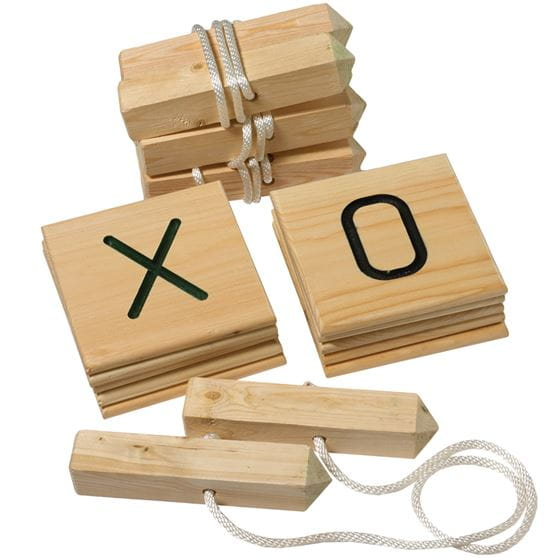 life-size wooden tic-tac-toe game set