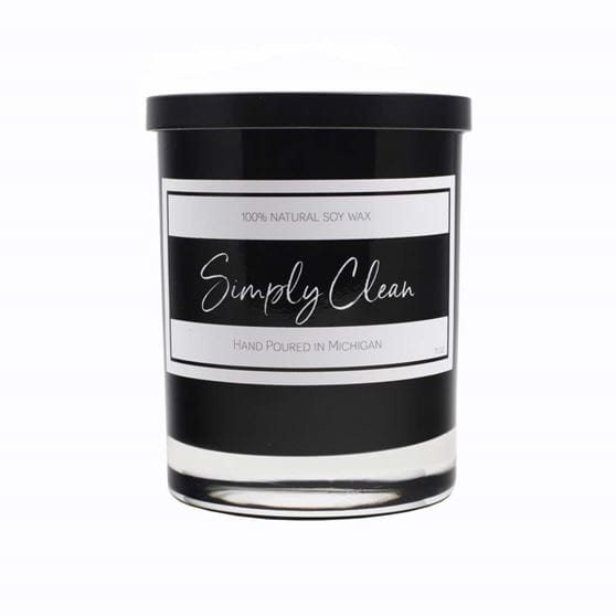 Simply clean black candle jar with white stripes and black lid