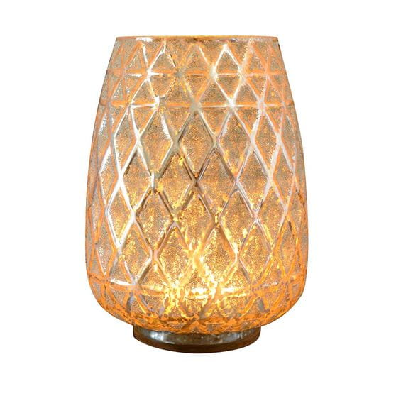 Gold glass candle holder, lit up