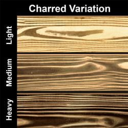 graphic showing the variations of light, medium and heavy charring on our charred wood products