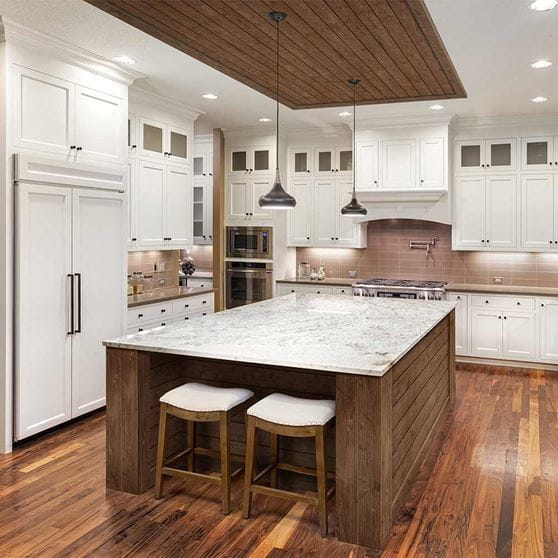 Dark Brown Colored Shiplap Installed In And White Kitchen