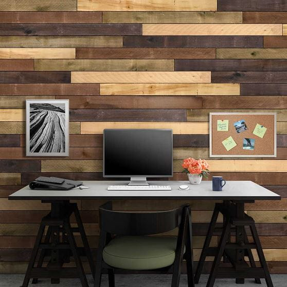Office Accent Wall Made With Ufp Edge Weathered Wood Boards