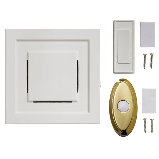 wireless white square doorbell chime, white push button, oval brass push button & hardware