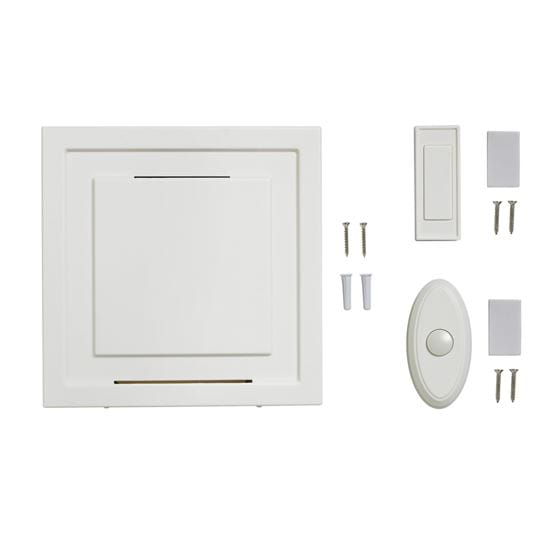 wireless white square doorbell chime, white doorbell button, oval white doorbell button, mounting hardware