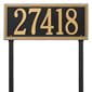 rectangular lawn address plaque with two stakes, black with gold lettering and boarder.