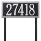 rectangular lawn address plaque with two stakes, black with silver lettering and boarder.