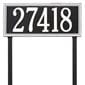 rectangular lawn address plaque with two stakes, black with white lettering and boarder.