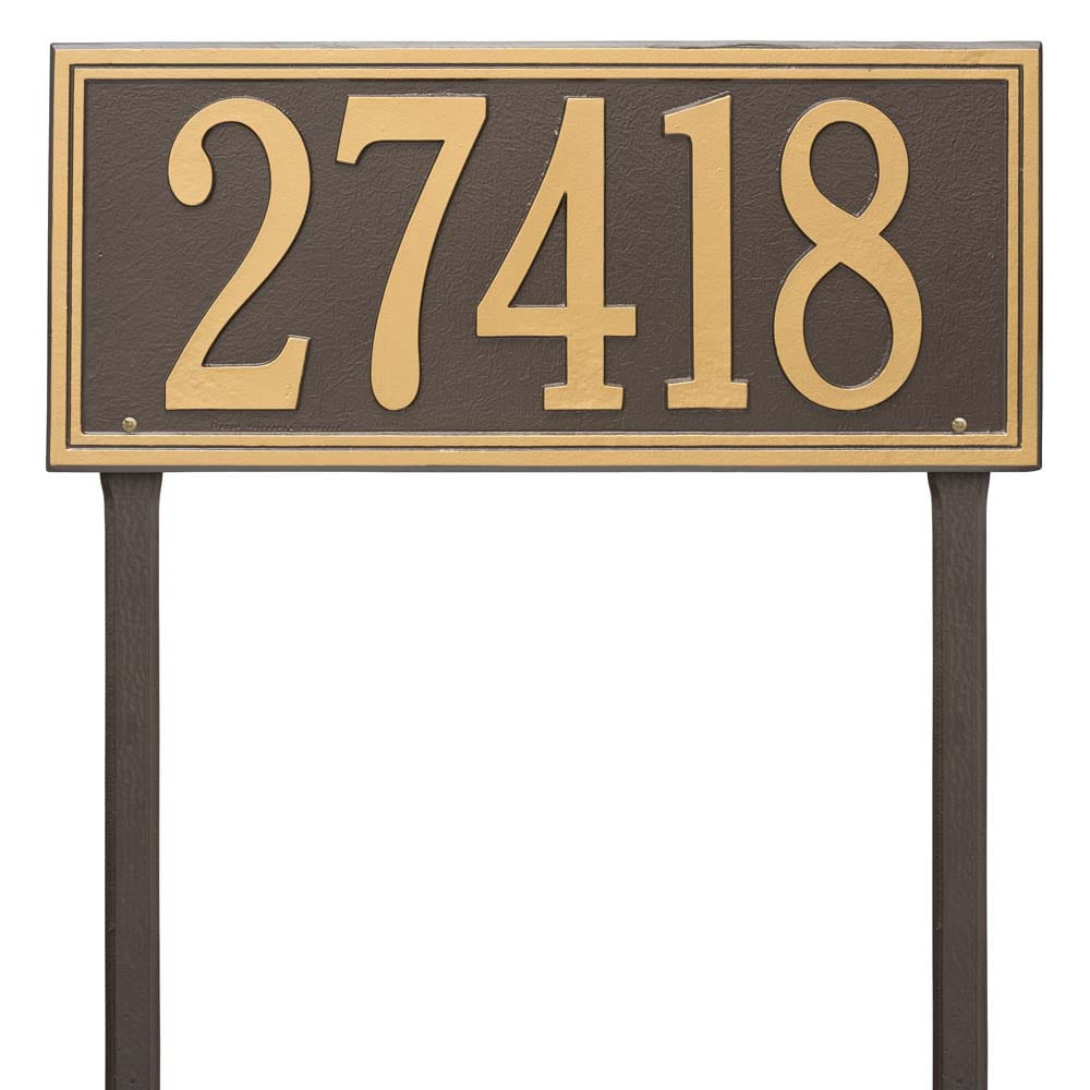 rectangular lawn address plaque with two stakes, bronze with gold lettering and boarder.