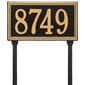 rectangular lawn address plaque with house number, black with gold lettering and border