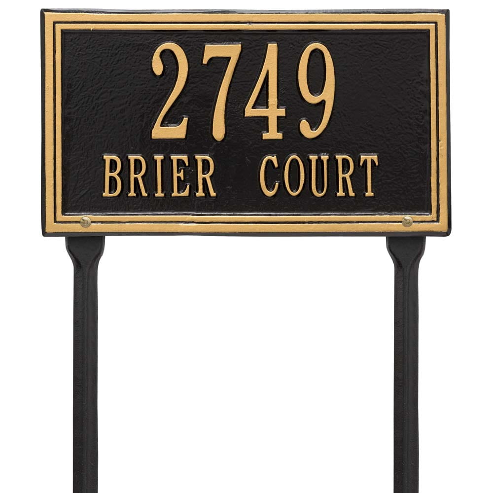 rectangular lawn address plaque with house number and street, black with gold lettering and border