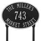 Oval lawn address plaque with house number and street, black with silver lettering and border