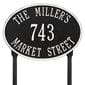 Oval lawn address plaque with house number and street, black with white lettering and border