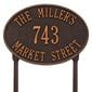 Oval lawn address plaque with house number and street, oil rubbed bronze lettering and border