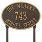 Oval lawn address plaque with house number and street, bronze with gold lettering and border